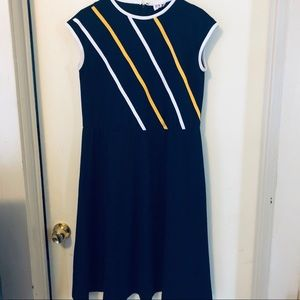 Vintage jersey dress with yellow and white stripes